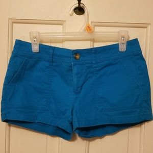 Bright blue shorts